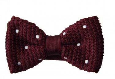 Mens Cedar Wood State Bow Tie Burgundy White Polka Tie Pre-Tied