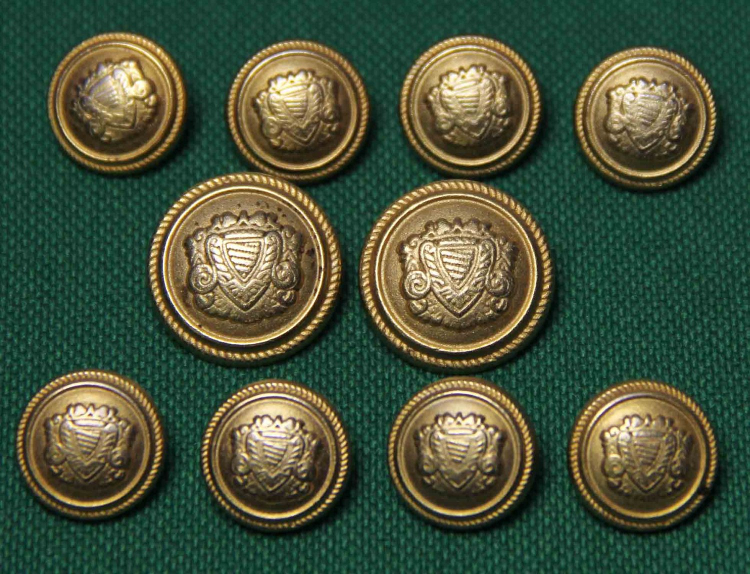 Vintage Aquascutum Blazer Buttons Set Gold Regal Shield Shank Men's