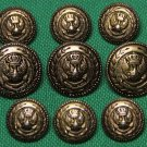 Mens Vintage Auxerre Blazer Buttons Set Antique Gold Eagle Shield Anchor 1980s