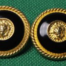 Two San Nicola Blazer Buttons Black Gold Lion Head Metal Enamel