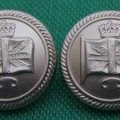 Two Men's British Isles Union Jack Flag Blazer Buttons Silver Metal Shank