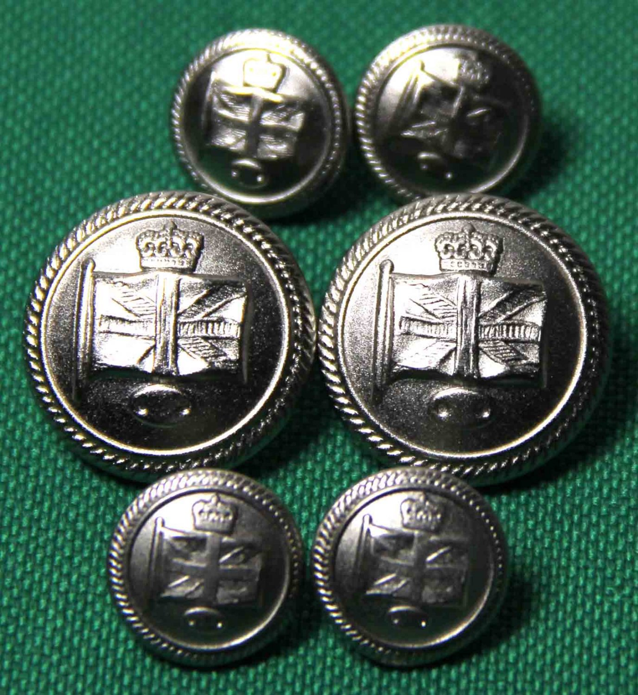 Men's British Isles Union Jack Flag Blazer Buttons Set Silver Metal Shank