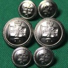 British Isles Union Jack Flag Blazer Buttons Set Silver Metal Shank Men's