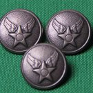 Three Waterbury USA Military Blazer Buttons Pewter Gray