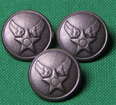 Three Waterbury USA Military Blazer Buttons Pewter Gray