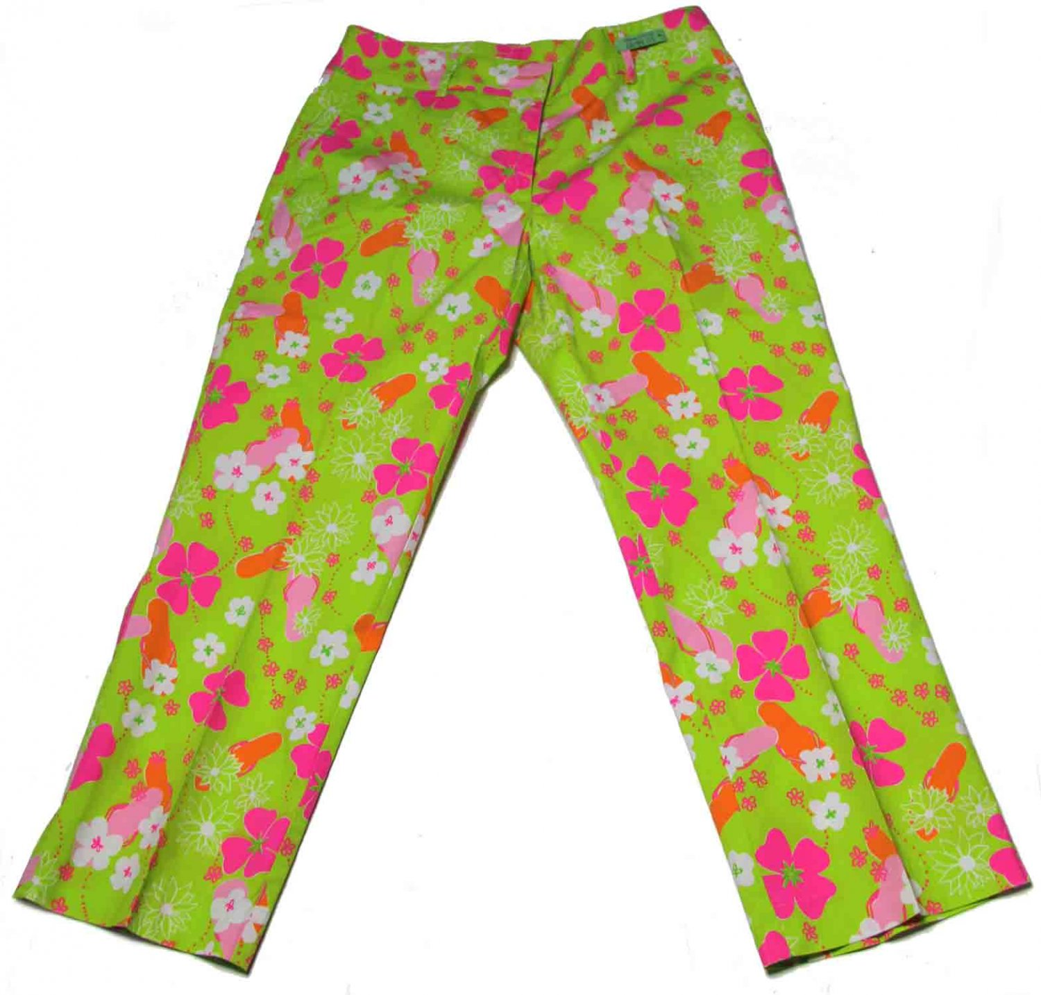 Rarely Used Womens Lilly Pulitzer Pants Floral Cropped Size 2