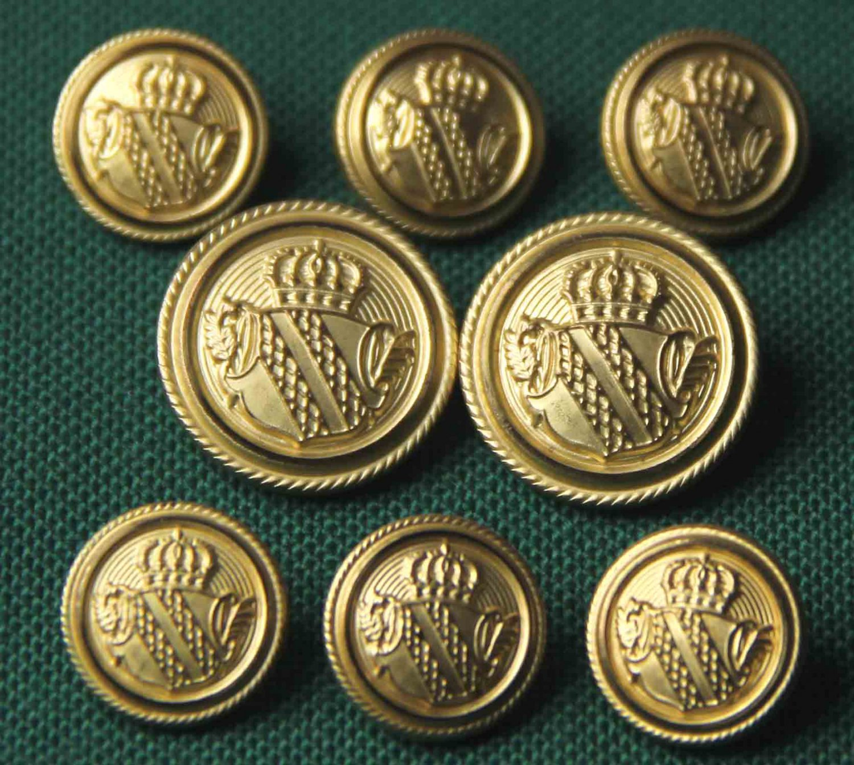 Palm Beach 8 Piece Blazer Buttons Set Gold Metal Shield Crown Shank Men's