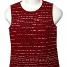 Women's St. John Sport Sleeveless Knit Top Wool & Rayon Vest Red White Size Small