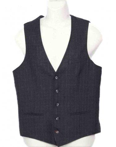 Mens Nordstrom 1901 Glen Plaid Vest Waist Coat Gray Size Medium