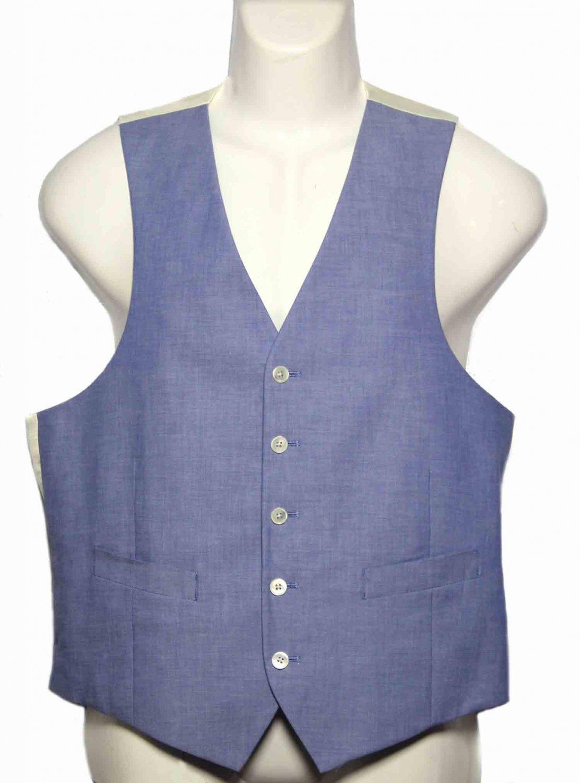 Mens Ralph Lauren Suit Vest Blue Cream Cotton Size 40 R