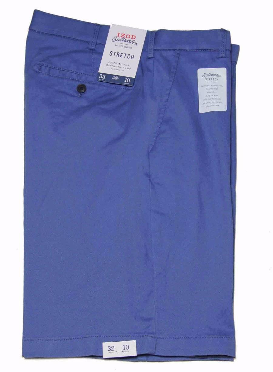Izod Saltwater Chino Shorts Flat Front Blue Men's Size 32