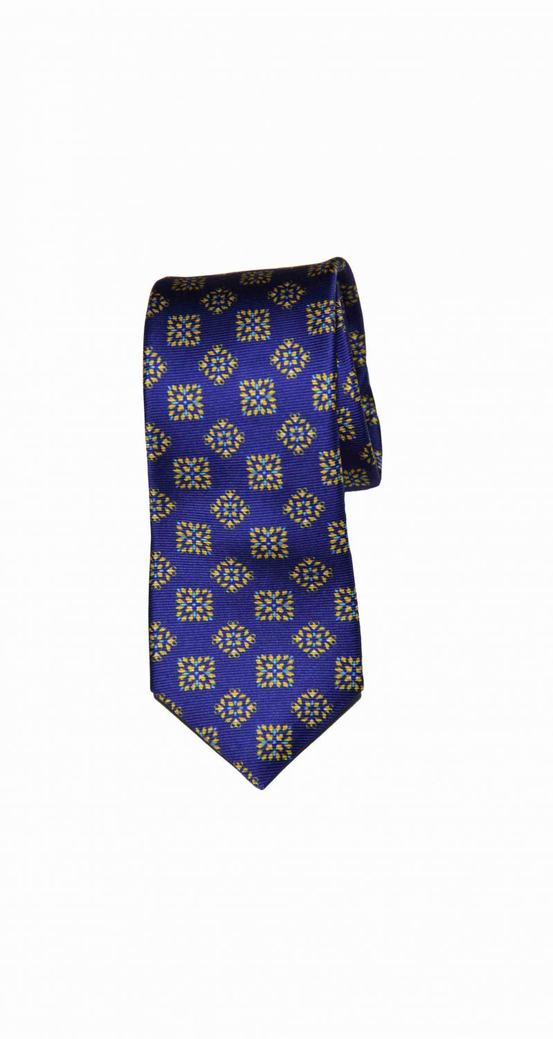Mens Ted Baker Tie Silk Blue Gold Classic