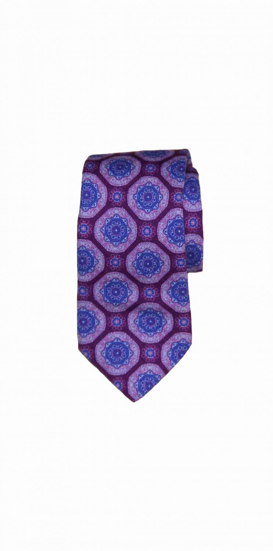 Mens Ted Baker Cotton Tie Purple Blue Fancy Geometric
