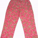 Lilly Pulitzer Pants Cropped Pink Green Palm Tree Pattern Women's Size 4