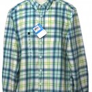 Columbia Out & Back Plaid Shirt Green Yellow White Men's Size Medium