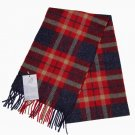 Bronte by Moon Scottish Lambs Wool Scarf Red Gray Gold Plaid 69 X 10 Men's