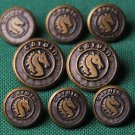 Mens Vintage Pierre Cardin Waterbury Blazer Buttons Set Gold Brown Seahorse
