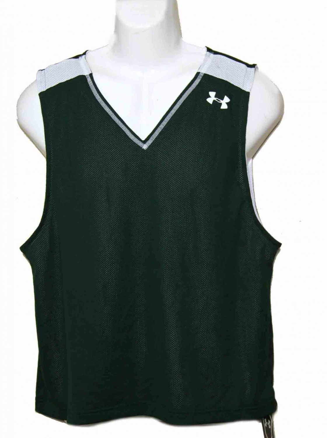 Mens Under Armour Reversible Tank Top Green White Loose Size Large