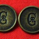 Two Mens CR Monogram Blazer Buttons Nino Cerruti 1970s Vintage Gold Brown
