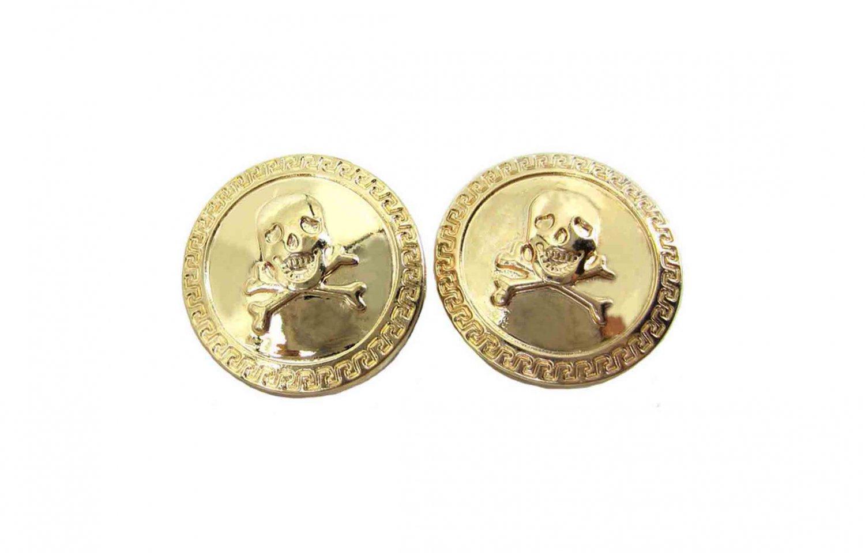 "Two Gascoigne Skull & Cross Bones Blazer or Jacket Buttons Gold Shank 7/8"" Metal"