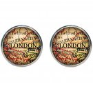 Men's London Old World Map Cufflinks Multi-color On Silver Zinc Alloy Metal