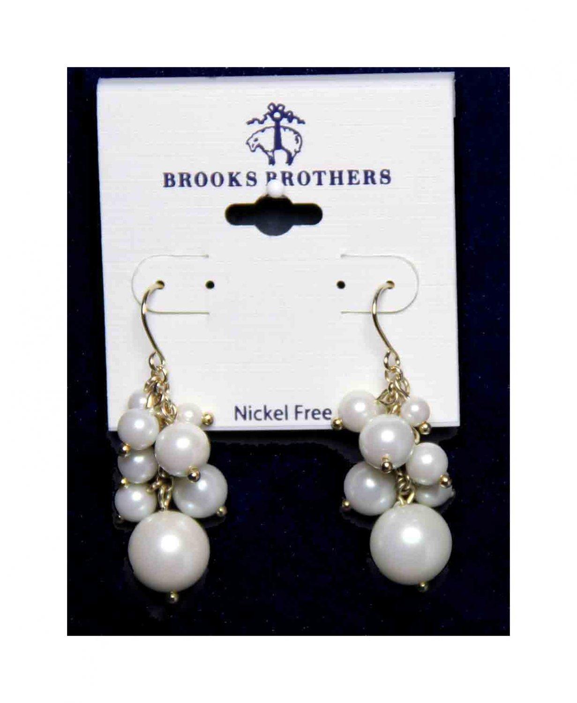 Brooks Brothers Faux Pearl Earrings Danglers Nickel Free