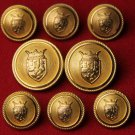 Kingsley Blazer Buttons Set Gold Lion Shield Metal Brass Men's