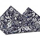 "Men's Gascoigne Pocket Square Floral Navy Blue White 9.25"" X 9.25"""