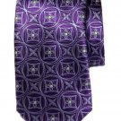 Krimson by Kwame Silk Tie Purple Purple Floral Geometric Hand Made Men's Long
