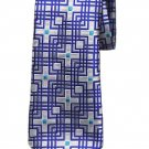 Penrose English Silk Tie Charing B Blue White Teal Geometric Men's