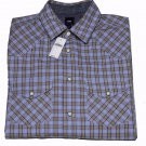 Mens Gap Western Shirt Plaid Blue Tan Size Small