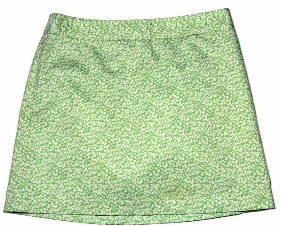 J Crew Cotton Mini Skirt Green Cream Leafy Pattern Women's Size 6