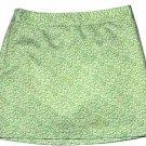 J Crew Cotton Mini Skirt Green Cream Leafy Pattern Women's Size 6