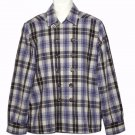 Diesel Plaid Shirt Double Breasted Wool Blend Gray Blue Brown Men's Size Medium