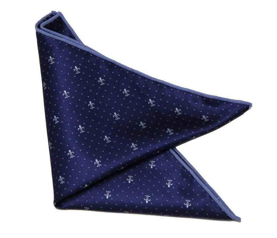 "Gascoigne Pocket Square Navy Blue White Fleur de Lis Dotted  9"" X 9"" Men's"