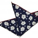 Men's Gascoigne Cotton Pocket Square Navy Blue White Red Floral Dots 9.5 X 9.5