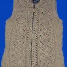 Womens Woolrich Thick Cotton Vest Khaki Crochet Size Medium