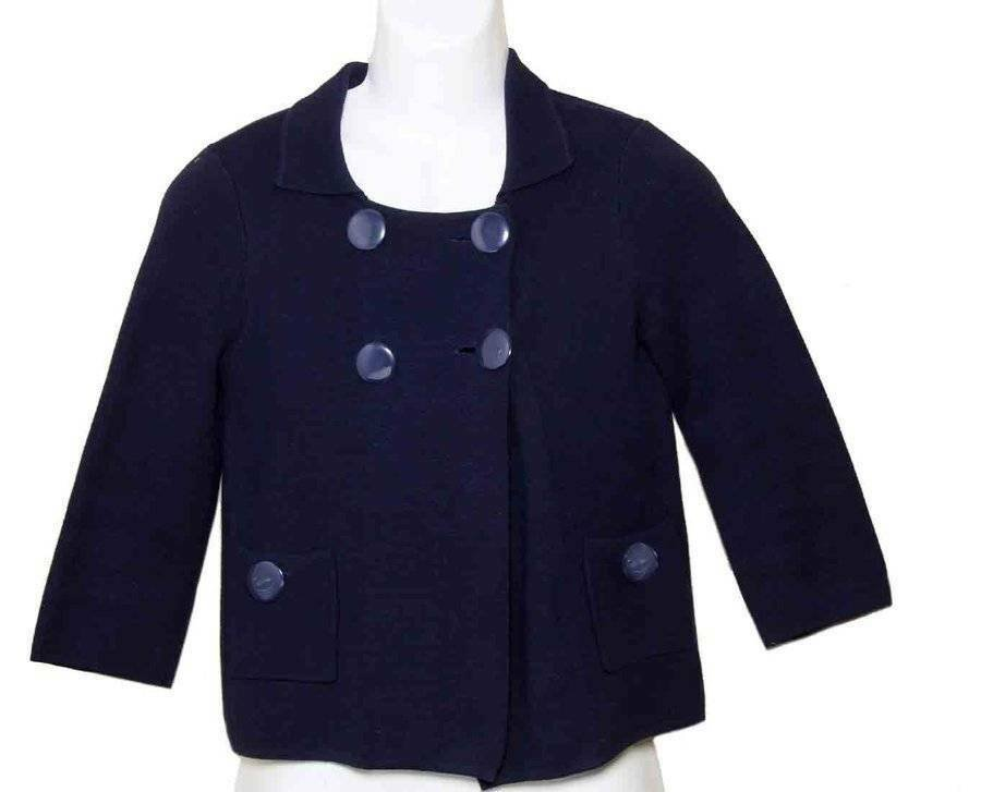 J Crew Cardigan Sweater Navy Blue Thick Cotton Women's Size Small