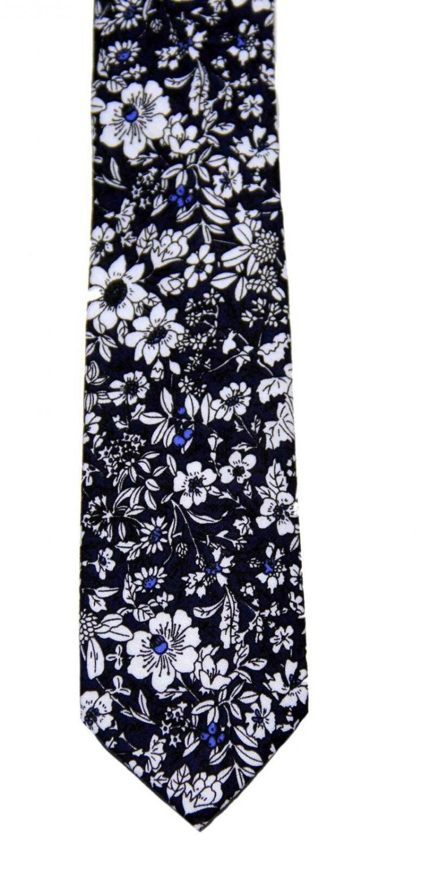 Men's Floral Cotton Tie Navy Blue White