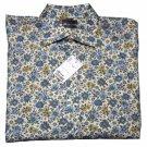 Petroleum Floral Cotton Shirt Blue Tan Cream Size Large