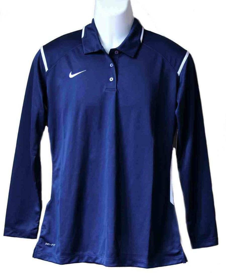 Nike Polo Shirt Navy Blue Dri-Fit Size Large