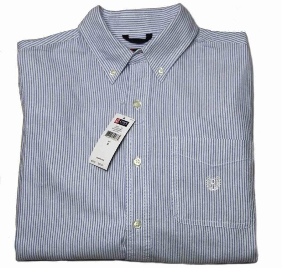 Mens Chaps Shirt Long Sleeve Button Down Blue White Stripe Size Small