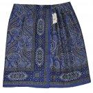 Womens Brooks Brothers Silk Skirt Blue Brown Paisley Wrap RUNS SMALL Size 10