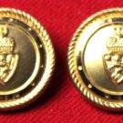 Two Mens Waterbury Blazer Buttons Set Gold Brass Crown Shield Lion