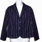 Talbots Boathouse Row Style Blazer Navy Red Striped Size 8