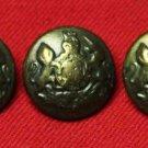 Three Monarch Vintage Coat Blazer Jacket Buttons Antique Gold Brass