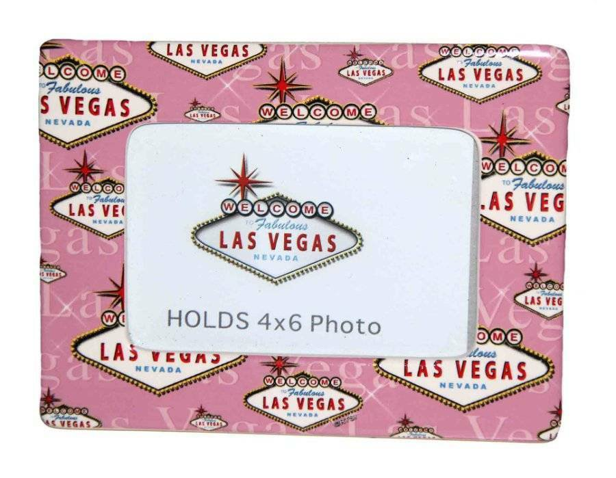 Welcome to Las Vegas Photo Frame for 4X6 Photo Pink White