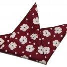 Men's Gascoigne Cotton Pocket Square Red White Floral Dots 9.5 X 9.5