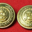 Two Waterbury USA Blazer Buttons Gold Brass Crown Eagle Shield Mens