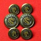 Vintage Pierre Cardin Blazer Buttons 1970s Antique Sea Horse Gold Brass Men's